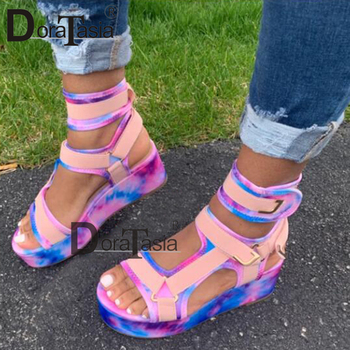 DORATASIA New Womens Gladiator Sandals Ladies Flat Platform Colorful Shoes Woman Casual Beach Summer Big Size 35-43
