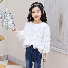 2019 Spring Fall Toddler Teen Girls Lace Blouse Top White Red Child Clothes Long Sleeve School Girl Shirt Kids Feather Tops 4-13 spring fall teenager baby school girls white blouse lace bow girls tops kids plaid shirt long sleeve shirts children s clothing