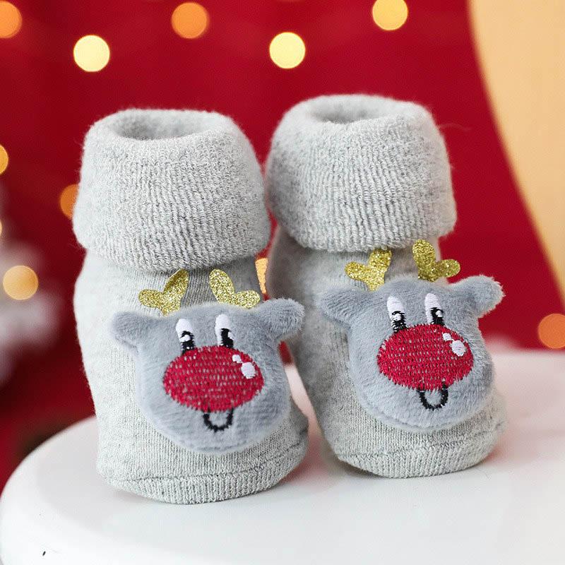 Winter New Children's Socks Woolen Ring Thickened Turn Mouth Cartoon Newborn To 3 Years Old Baby Socks Doll Christmas Baby Socks