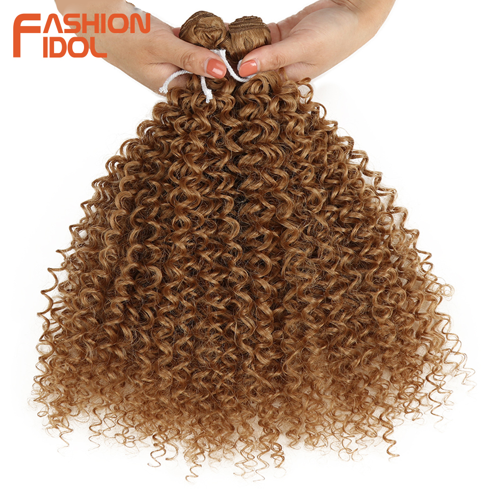 FASHION IDOL Afro Kinky Curly Hair Extensions Synthetic Hair 2Pcs/Lot 24 Inch Ombre 613# Brown Weft Weave Hair Bundles For Women