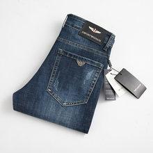 Winter Men's Jeans Slim Elastic Italy Eagle Brand Fashion Autumn Business Trousers Classic Style Jeans Denim Pants Male Pants