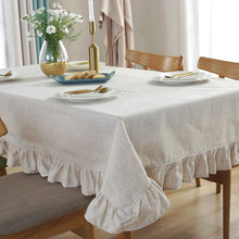 Table Cloth Fabric Cotton and Linen Simple Lotus Rectangular Solid color Tablecloth Cover