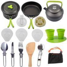 Открытый горшок кастрюля Кемпинг посуда для пикника набор для приготовления пищи Антипригарная посуда со складной ложкой Вилка Нож чайник чашка разделочная доска