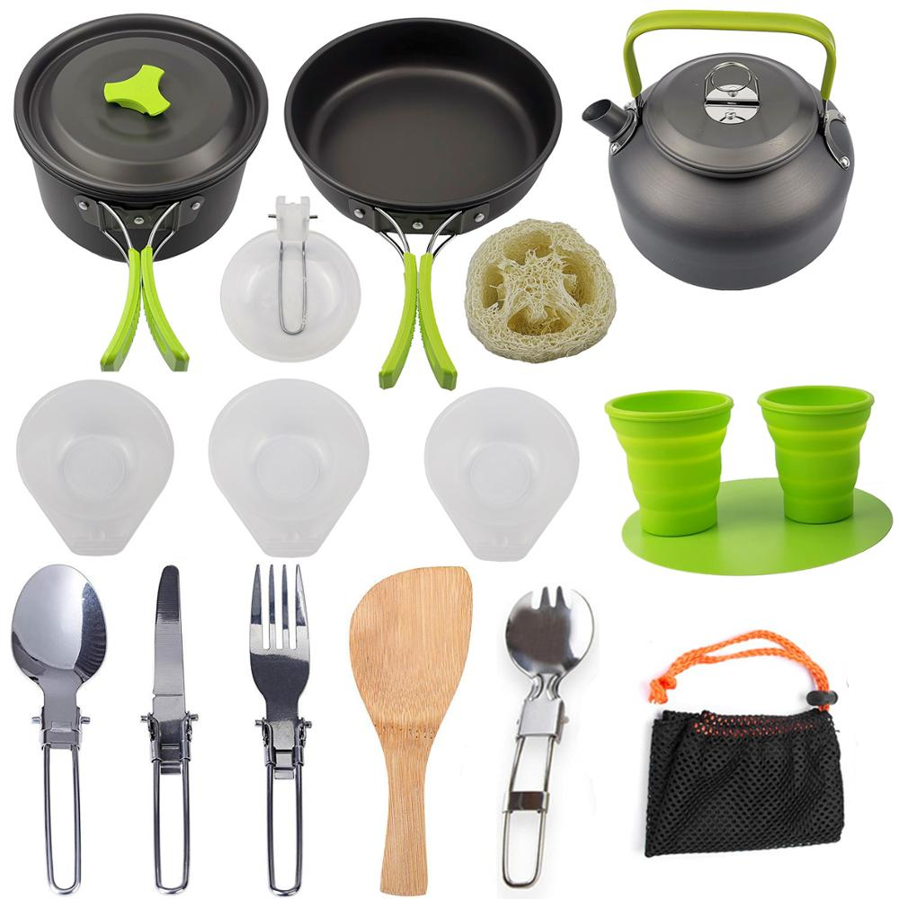 Outdoor Pot Pan Camping Cookware Picnic Cooking Set Non-stick Tableware With Foldable Spoon Fork Knife Kettle Cup Chopping Board
