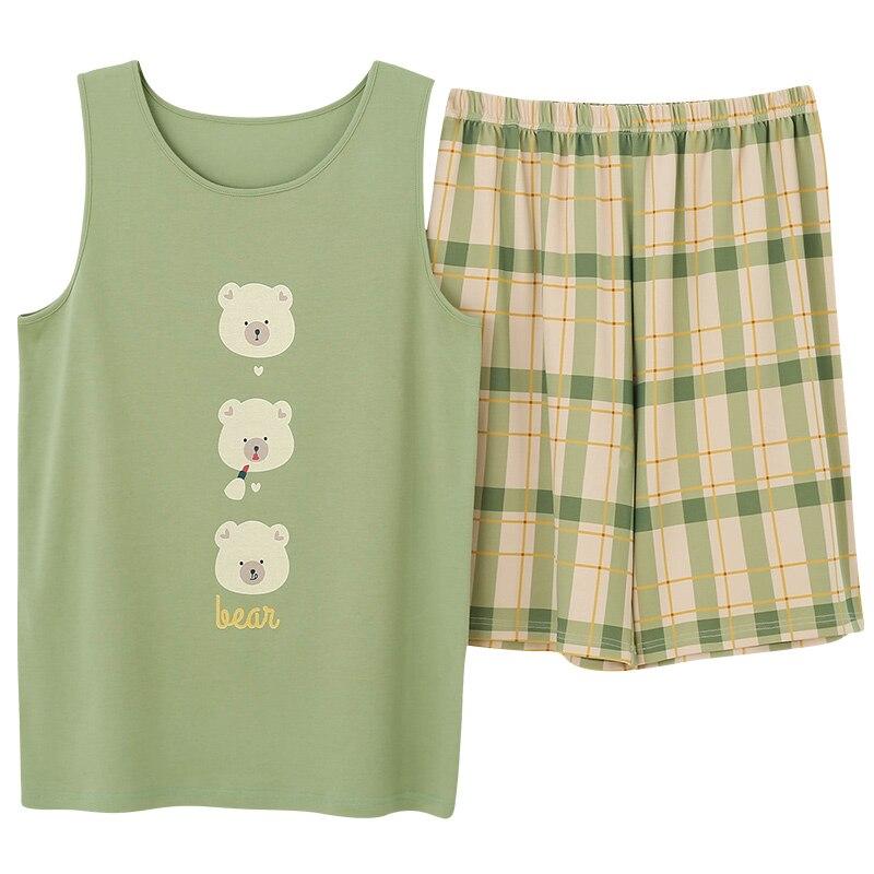 Crew Neck Plus Size Man Sleepwear Pajamas Set Homesuit Homeclothes Sleeveless Short Pants Cartoon Printing Fashion Style Pj Set