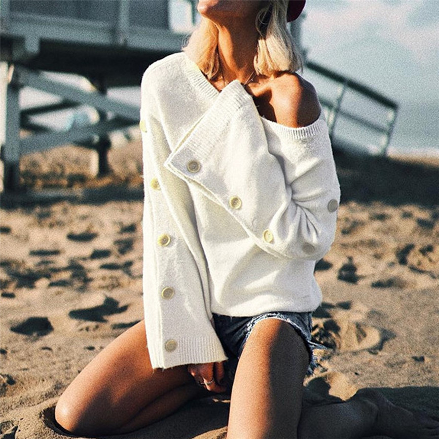 Off Shoulder Pullover Womens Sweater Knitted Sweater Women Long Sleeve Loose Jumpers Oversized Sweater Pull Femme Plus Size