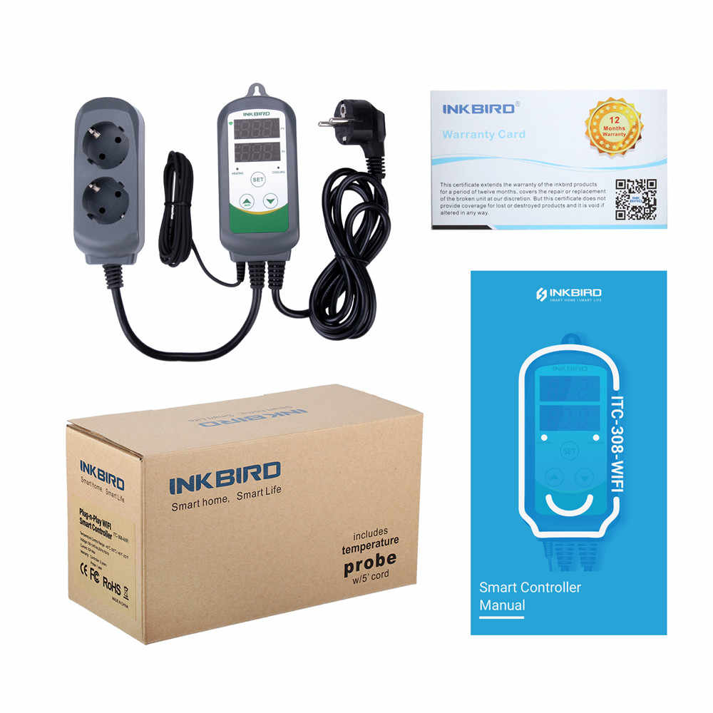 Inkbird ITC-308 WIFI デジタル温度コントローラ EU 米国英国 AU プラグコンセントサーモスタット、 2 段 2200 ワット、 w/センサ Homebrewing