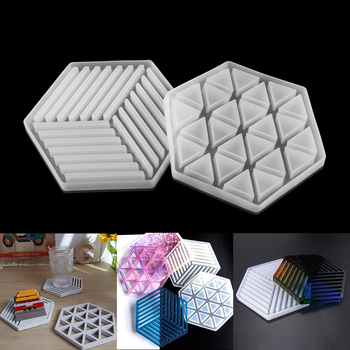 1pcsCoaster Tray Resin Silicone Mold Hexagon Triangle Stripe For Concrete Cement DIY Making Home Decoration Tool
