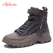 Aphixta Platform Canvas Suede Ankle Boots Women Equestrian Thick Sole Lace-up Shoes WomenWaterproof Martin Boot(China)
