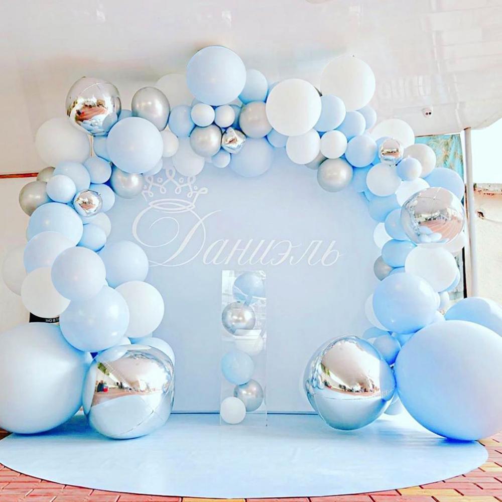 141 pçs azul prata macaron metal balão guirlanda arco festa evento folha balões weding chuveiro do bebê festa de aniversário decoração crianças adulto
