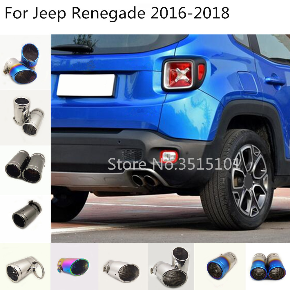 for jeep renegade 2016 2017 2018 2019 2020 car styling cover muffler end stainless steel tail pipe dedicate outlet exhaust