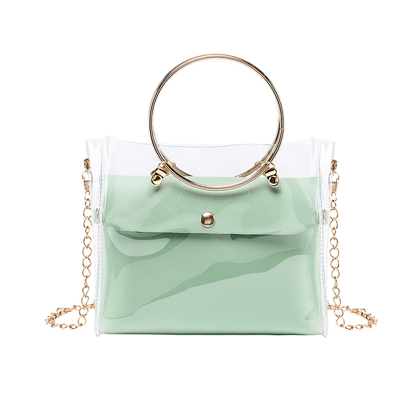 Women PVC Transparent Square Bag Clear Satchel Bag Crossbody Chain Small Jelly Ring Handle Handbags SER88
