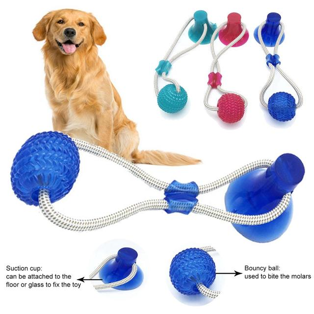 VIP Cats Dogs Interactive Suction Cup Push TPR Ball Toys Elastic Ropes Pet Tooth Cleaning Chewing Playing IQ Treat Puppy Toys