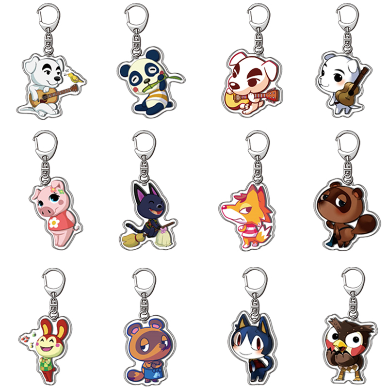 Hot Sale Animal Crossing Acrylic Keychain Fashion Jewelry Accessories Cute Shaped Pendants Keyring For Child Gifts