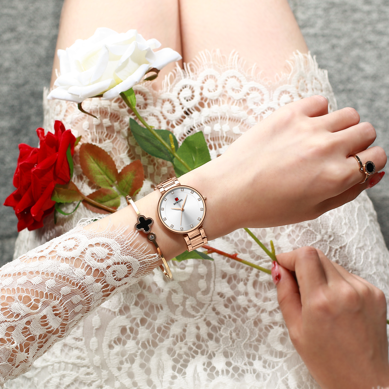REWARD Women Simple and stylish steel belt with diamonds female watch Japanese movement waterproof ladies quartz watches in Women 39 s Watches from Watches