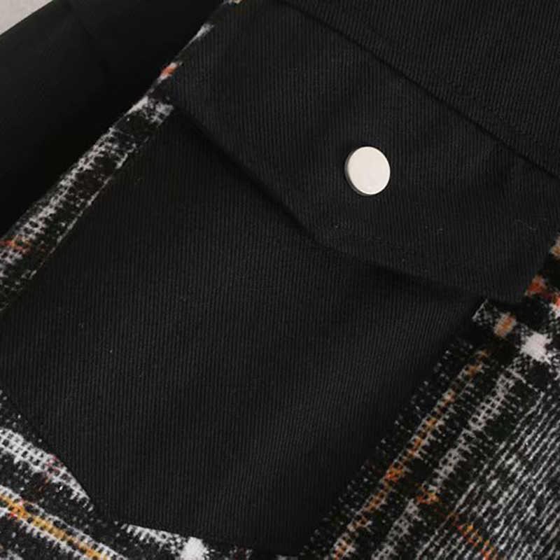 Vintage Stilvolle Plaid Patchwork Taschen Übergroße Jacke Mantel Frauen 2020 Mode Lange Hülse Lose Damen Oberbekleidung Chic Tops