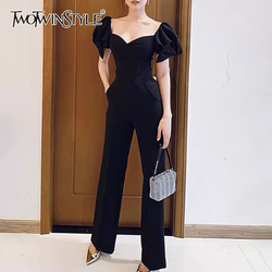 TWOTWINSTYLE Elegant Women Jumpsuits Square Collar Puff Short Sleeve High Waist Slim Jumpsuit Female Fashion Clothes 2020 Tide