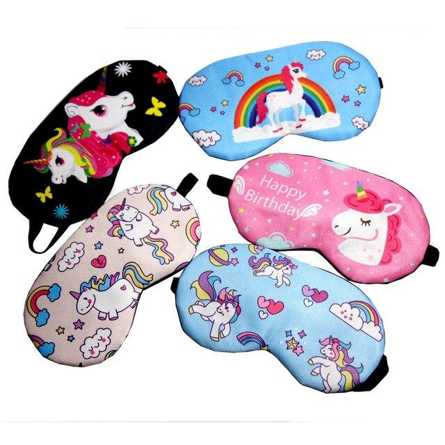 Sleeping Mask Cute Unicorn Cartoon Eye Cover Cotton Eye Patch Sleep Mask Girl Kids Silk Travel Rest Eye Band Blindfold Sleep Aid
