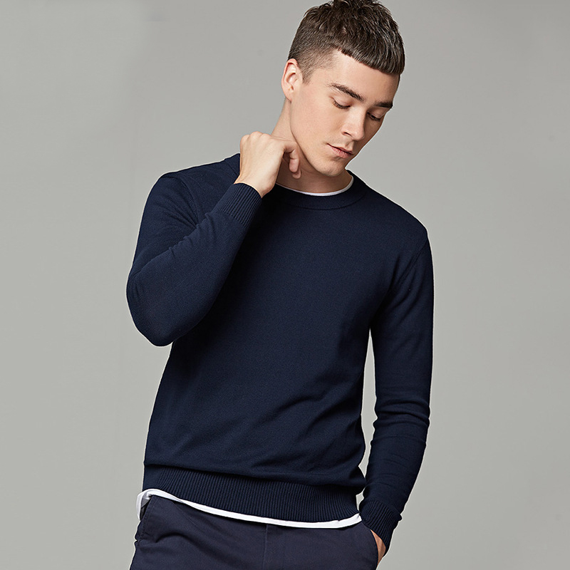 YUSHU 2019 Autumn New Warm Sweaters O-Neck Wool Sweater Solid Slim Fit Pullovers Casual Cotton Knittwear S-3XL