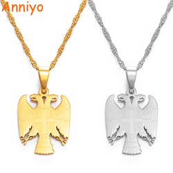 Anniyoc Republic of Serbia Eagle Pendant Necklaces for Women Men Silver Color/Gold Color Srbija Jewelry Serbian Gifts #158021