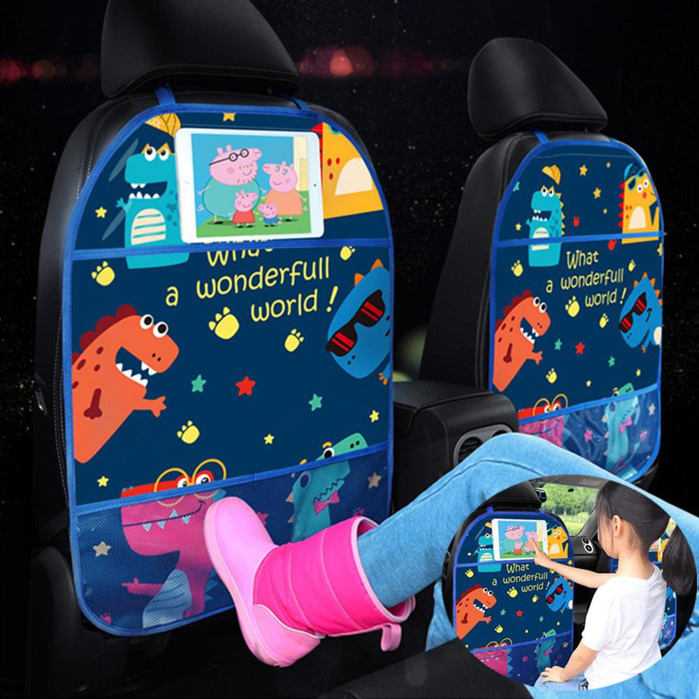 Cartoon Car Seat Back Protector Cover Car Organizer Tablet Stand Hanging Bag Car Styling Storage Holder Kick Mat Car Accessories