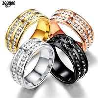 Unisex Fashion Rhinestone Double Rows Wedding Casual 2.14cm/0.84inch Party 2.22cm/0.87inch Ring