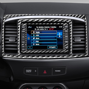 Image 2 - For Mitsubishi Lancer GTS ES DE 2008 2015 Carbon Fiber Navigation Panel Sticker Center Air Vent Frame Trim Strip Car Accessories