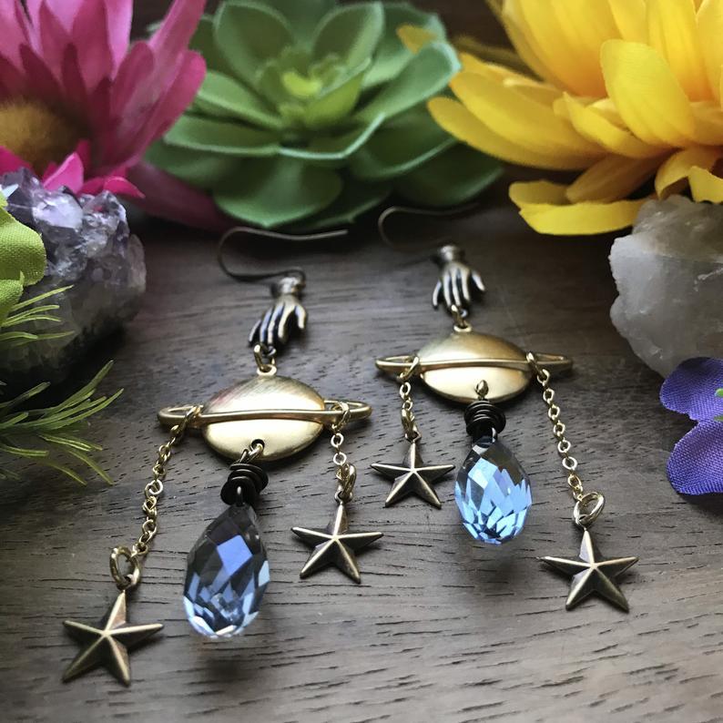 Drops Of Saturn /crystal earrings | Dangle Earring | Saturn Jewelry | Space | Minimalist | Solar System Galaxy earrings