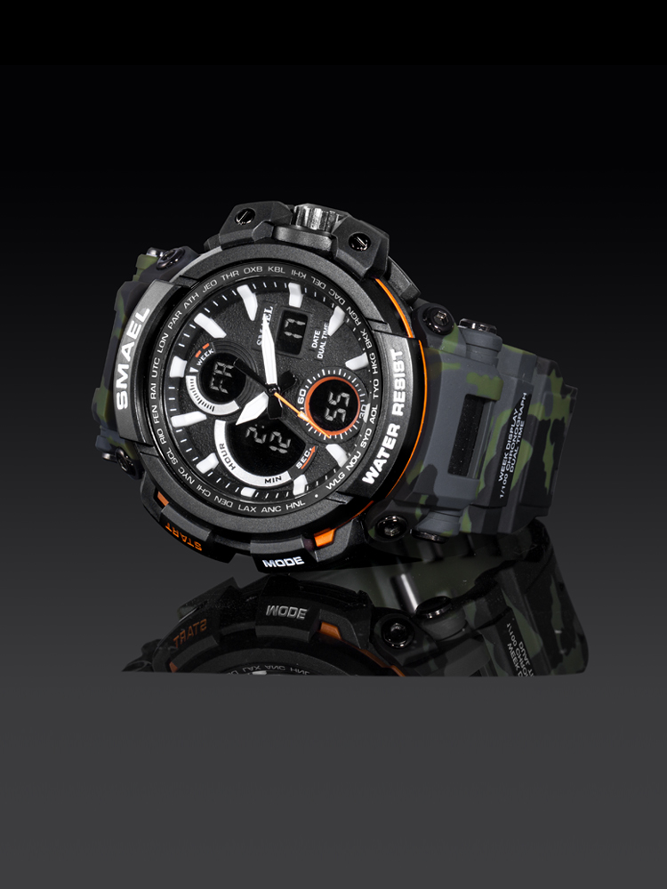 SMAEL Sport Watches Clock Military Waterproof Relogio Masculino 1708B Saati LED Erkek