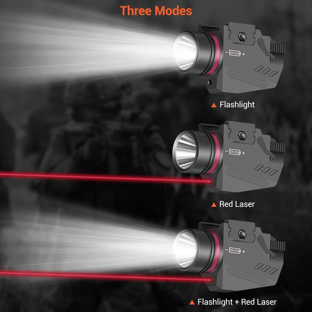 Tactical LED Gun Light Flashlight Red Laser Sight Portable Pistol Gun Light Military Airsoft Weapon Light for Hunting Shooting-3