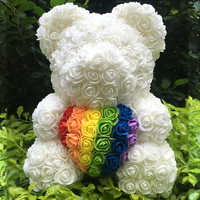 2019 Hot Sale 40cm Bear of Roses Artificial Flowers Home Wedding Festival DIY Cheap Wedding Decoration Gift Box Wreath Crafts