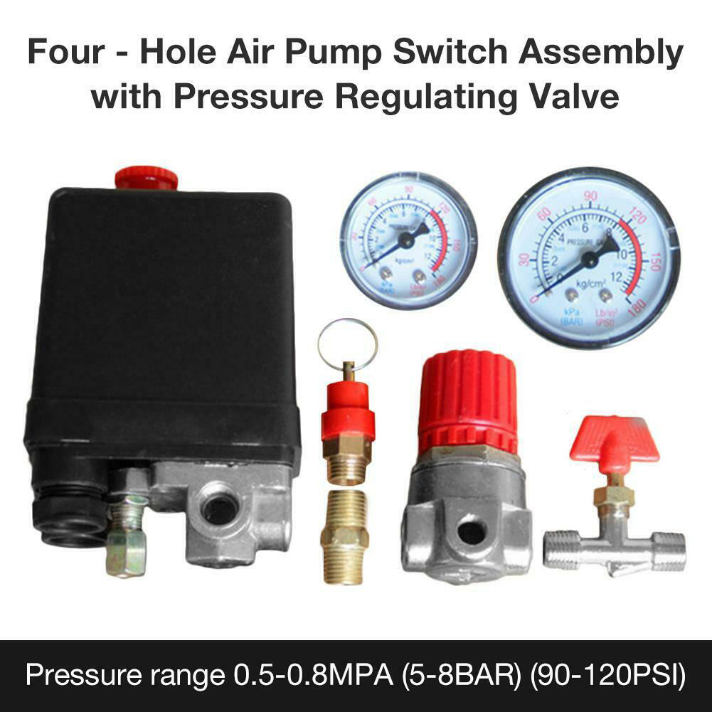 Image 3 - 90 120PSI Heavy Duty Practical Air Compressor Motor Driven With Gauges Exhaust Pressure Control Switch 4 Port Pump Accessories-in Pneumatic Parts from Home Improvement