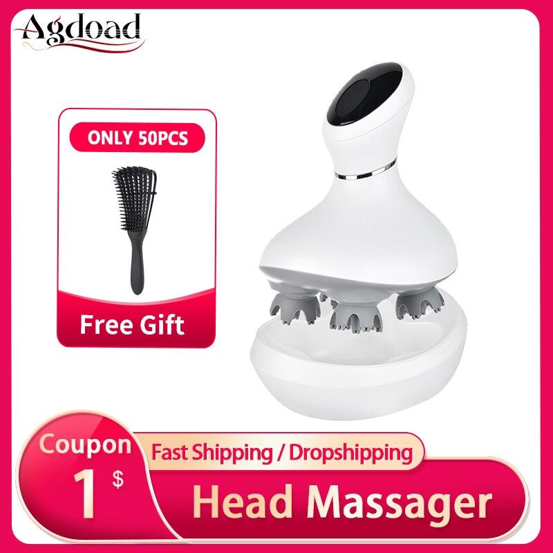 Agdoad inteligente cabeça do couro cabeludo massageador usb carregamento sem fio cabeça dispositivo de massagem estresse relaxar corpo volta massageador para evitar a perda de cabelo