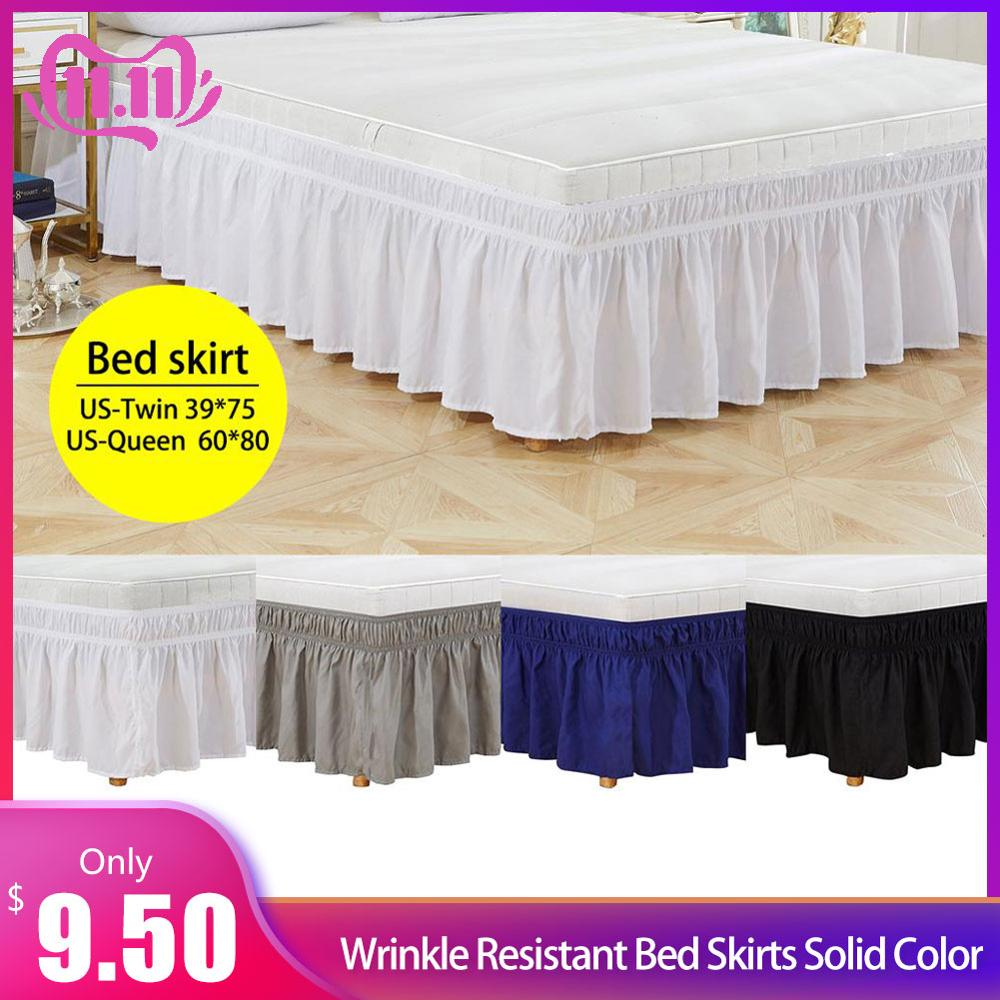 Around Bed Skirt Elastic Bed Ruffles Easy Fit Wrinkle Resistant Bed Skirts Solid Color #4O