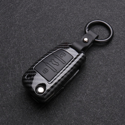 Carbon Fiber Silicon Flip Car Key Cover Case Protection Shell For Audi A1 A3 A4 A6 TT Allroad Q3 Q7 R8 S6 SQ5 RS4 2018 keychain