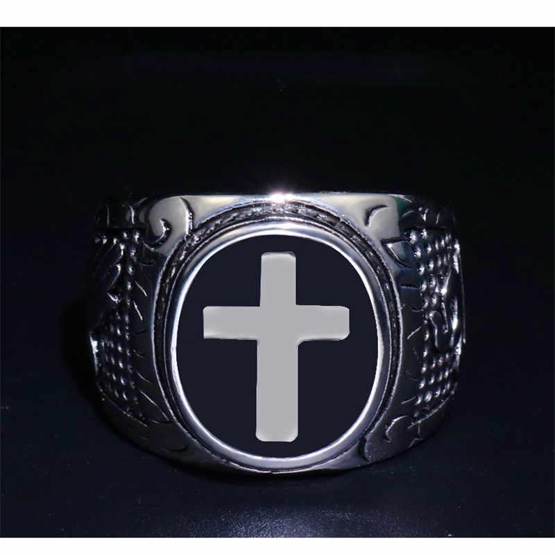 Çapraz din yüzük erkekler Hip Hop kaya hıristiyanlık yüzükler Mens altın gümüş takı Vintage yüzük erkek kadın Punk parti yüzük