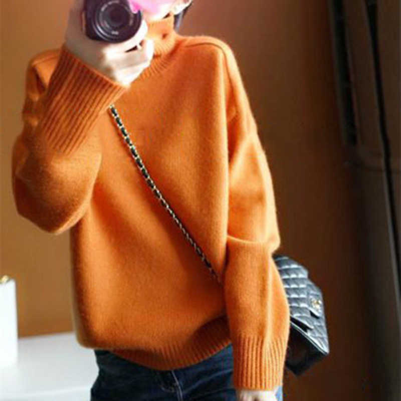 Grande taille chandails femmes hiver col roulé à manches longues décontracté Orange pull en vrac cachemire tricoté pull femme 2019 mode