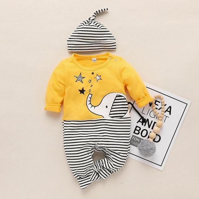 Lente en Herfst Nieuwe Katoenen Pasgeboren Casual Leuke Olifant Print Gestreepte Jumpsuit Jumpsuit en Hoed Set Crawler voor Baby