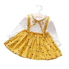 Girl Long Sleeve Fashion Princess False 2-piece Strap Dress T-shirt Set