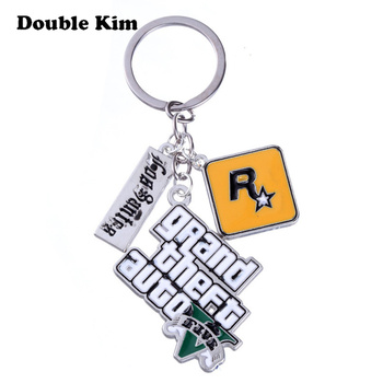 GTA 5 Grand Theft Auto 5 Keychain Game PS4 Key Chain for Men Fans Letter Grand Theft Autob Rock Star Keychain Key Buckles Gift 1