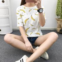 Banana Stamp Tops Women's 2019 Summer Korean-style WOMEN'S Wear Fruit Slim Fit Slimming Short Sleeve T-shirt Students Sweater