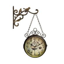 3D Vintage Wall-Clock Retro Double Sided Simple Silent Quartz Wall Watch Wrought Iron Round Clock For Living Room Decoration