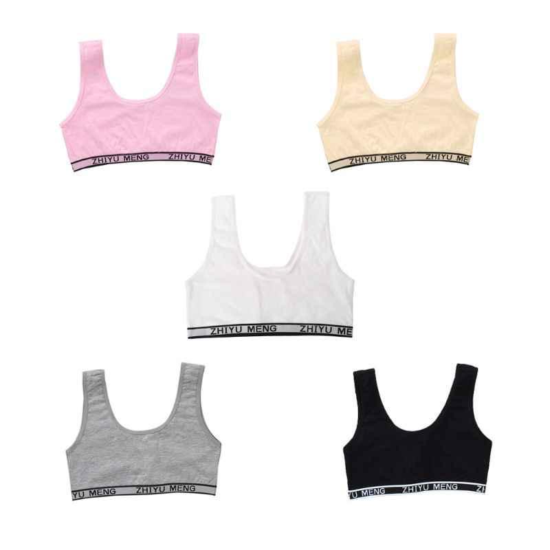 Los niños de algodón de entrenamiento deportivo sujetador ropa interior de ropa de Color sólido letras impresas escote adolescente pubertad chica inalámbrico Bralette chaleco