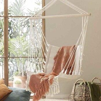 Nordic Style Home Garden Hanging Hammock Tassel Hammock Chair Outdoor Indoor Dormitory Swing Hanging Chair with Wooden Rod 1