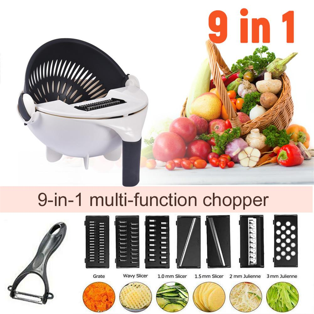 2019 Rotate Vegetable Cutter 9 In 1 Multifunctional Capacity Rotary Chopper