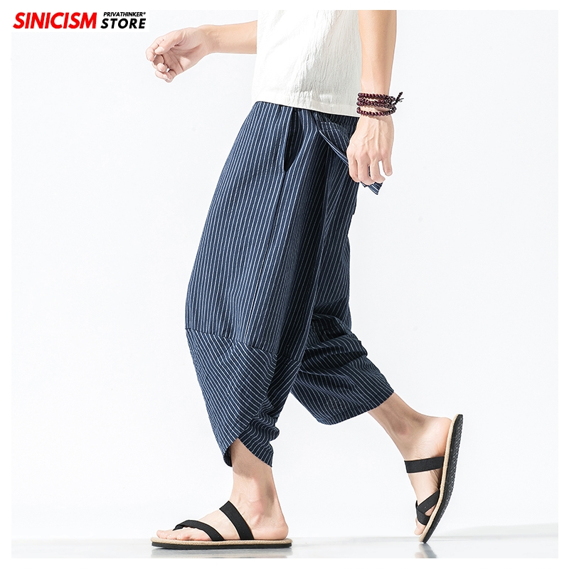 Sinicism Store Baggy Cotton Linen Harem Pants 2020 Japanese Vintage Striped Men Women Hip Hop Plus Size Wide Leg Pants Pantalone