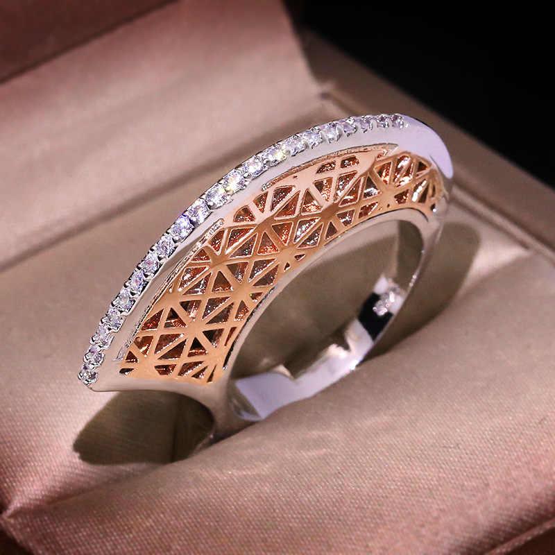 אופנה שני טון ירח חלול טבעות מודרני תכשיטי כסף עלה זהב מעורב צבע מלא ריינסטון אצבע טבעת bague femme Z4T408