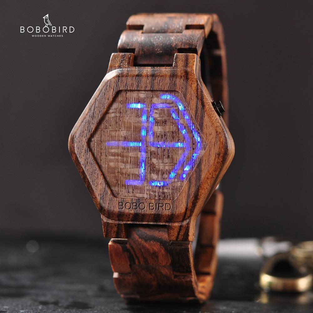 Relogio Digital BOBO BIRD LED Men Watch Wood Wristwatch Night Vision Calendar Quartz Watches Custom Minimal Time Display Dropshi