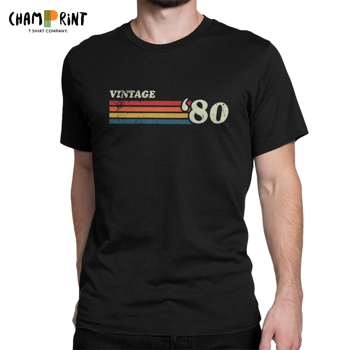 80's Retro Stripes Men's T Shirts Born In 1980 T-Shirts 40 Years Old 40th Birthday Gift Novelty Tees Birthday Gift Clothing