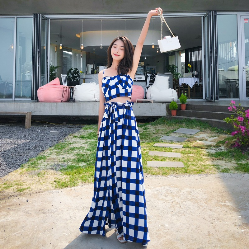 Photo Shoot Normcore Style Holiday Blue Plaid High-waisted Lace-up Skirt Camisole And Ankle Long Skirts Slimming Set
